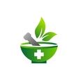 mortar pestle logo logotype medicine pharmacy vector image