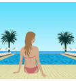 woman sitting near pool vector image vector image