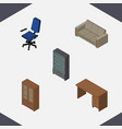 isometric furniture set of table cabinet vector image