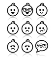 Baby boy faces avatar icons set vector image vector image