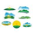 Set of sunny summer landscapes vector image vector image