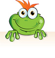 Funny frog with signboard vector image