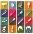Square colorful hairdressing equipment icons vector image