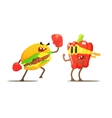 Hamburger Against Pepper Cartoon Fight vector image