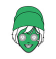color silhouette with green face woman with towel vector image