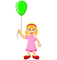 funny little girl holding a green balloon vector image