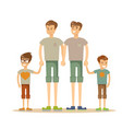 happy gay couple with children vector image