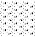 pattern with hand drawn tree and home vector image