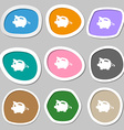 Piggy bank icon symbols Multicolored paper vector image