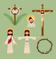 set of icons christianity religious symbol vector image
