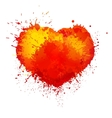 trendy watercolor grunge paint splash heart vector image