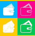 wallet sign  four styles of icon on vector image