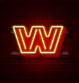 neon city font letter w signboard vector image
