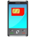 Mobile phone with red sim card vector image