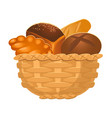 closeup of homemade wicker basket with bakery vector image