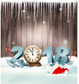 Happy new year 2018 background with santa hat and vector image
