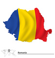 Map of Romania with flag vector image