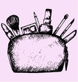 make up bag cosmetics vector image vector image