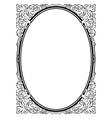 Calligraphy penmanship oval baroque frame black vector image