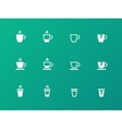 Coffee cup circle icons on green background vector image