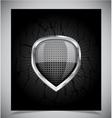 Glossy shield emblem on black background vector image