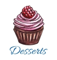 Patisserie dessert emblem Muffin sketch icon vector image