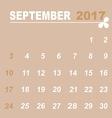 Simple calendar template of september 2017 vector image