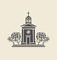 architectural icon of the bell tower with trees vector image vector image