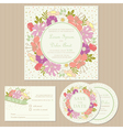 wedding cards with floral frame vector image