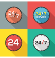 24 hours a day and 7 days a week flat icon clock vector image