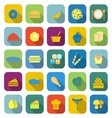 Food color icons with long shadow vector image