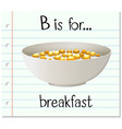 Flashcard letter B is for breakfast vector image