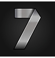 Number metal chrome ribbon - 7 - seven vector image vector image