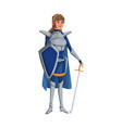 cartoon warrior princess woman in costume with vector image