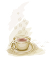 cup of coffee watercolor style vector image