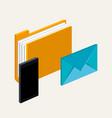 smartphone folder file email letter communication vector image
