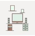 Thin line flat design of workplace Modern vector image