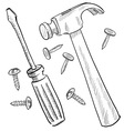 doodle tools hammer nail screwdriver screw pliers vector image