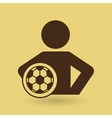 man hands on waist with soccer ball icon vector image