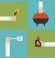 barbecue and grill modern design flat set vector image
