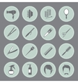 Round hairdressing equipment icons vector image