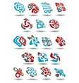 Abstract icons with arrows map pointers mazes vector image vector image