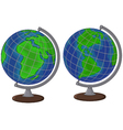 Cartoon globe two side vector image