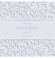White 3d Vintage Christmas or Invitation vector image vector image