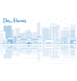 Outline Des Moines skyline with blue buildings vector image