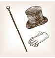 Vintage cylinder cane gloves sketch style vector image
