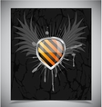 Glossy shield emblem on black background vector image vector image