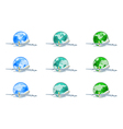 Earth globes with planes vector image