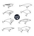 fishing baits editable icons vector image