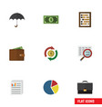 flat icon gain set of portfolio scan counter and vector image